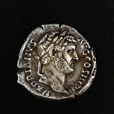 Ancient Roman Imperial AR Denarius of Hadrian, ca. 120 A.D.