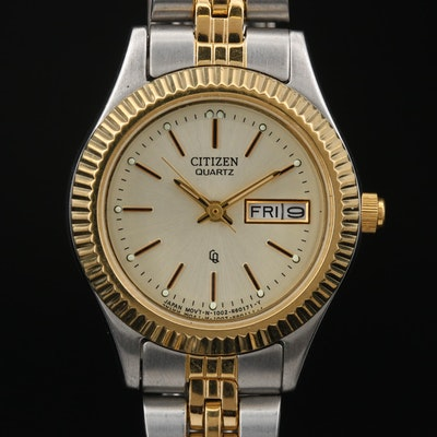 "Citizen ""CQ"" Day-Date Two Tone Quartz Wristwatch"