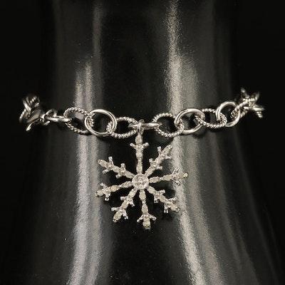 Sterling Silver Diamond Snowflake Bracelet