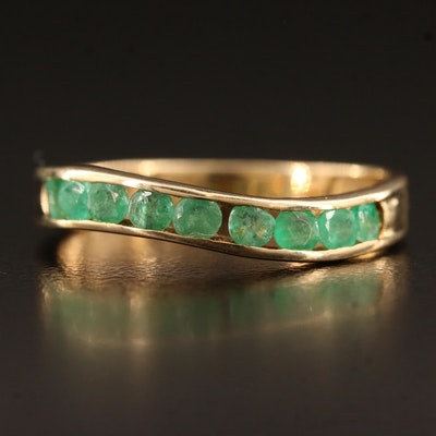 10K Channel Set Emerald Band with Curved Design