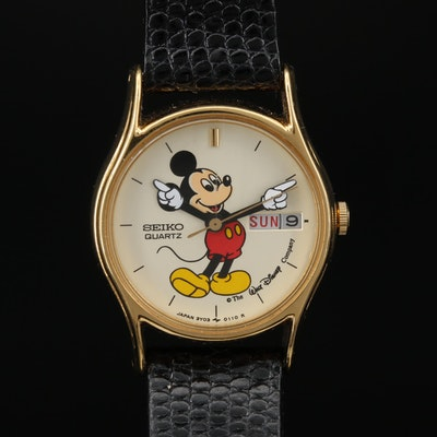 Vintage Seiko Mickey Mouse Gold Tone Quartz Wristwatch