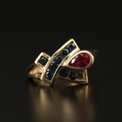 10K Ruby and Sapphire Ring