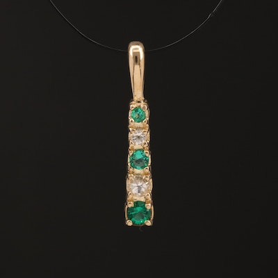 10K Graduated Emerald and Sapphire Pendant