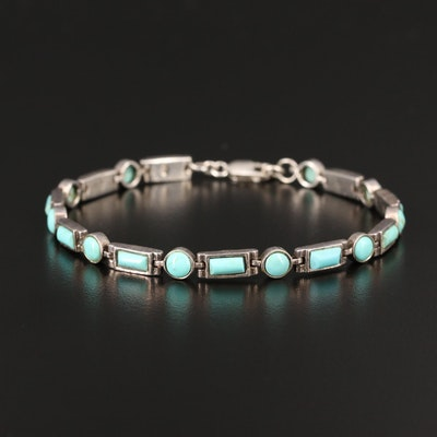 Sterling Silver Faux Turquoise Line Bracelet