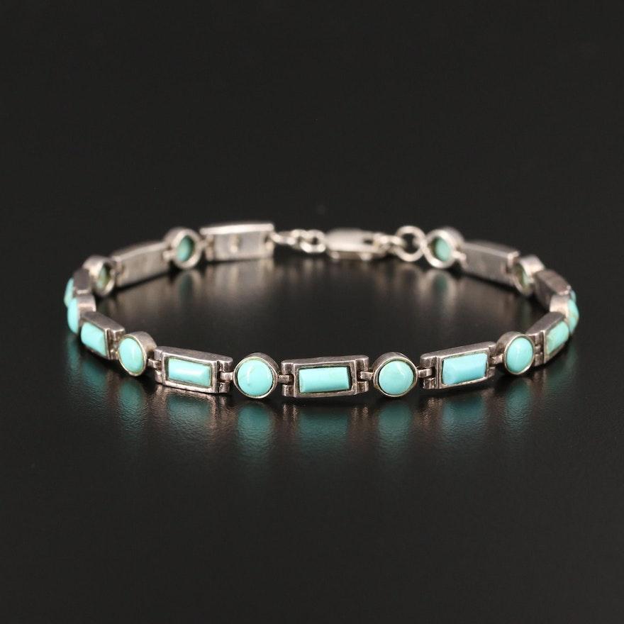 Sterling Silver Faux Turquoise Line Bracelet