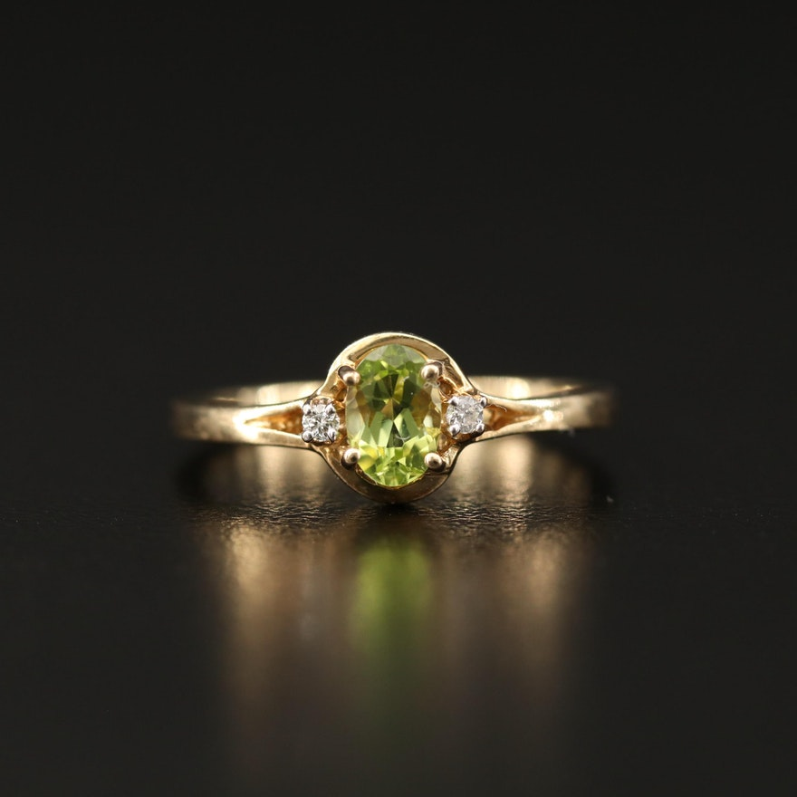 10K Peridot Ring with Diamond Accents