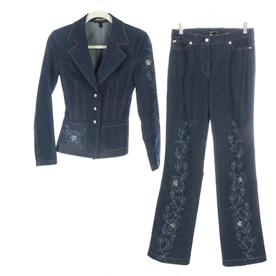Escada Denim Pantsuit with Embellished Floral Motif