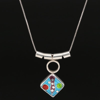 Studio Art Bill and Lisa Bailey Sterling Cloisonné Slide Pendant Necklace