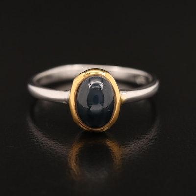 Sterling Silver Bezel Set Star Sapphire Ring