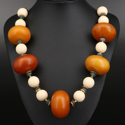 Beaded Celluloid and Apatite Necklace