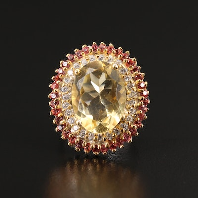 Sterling Citrine and Sapphire Double Halo Ring