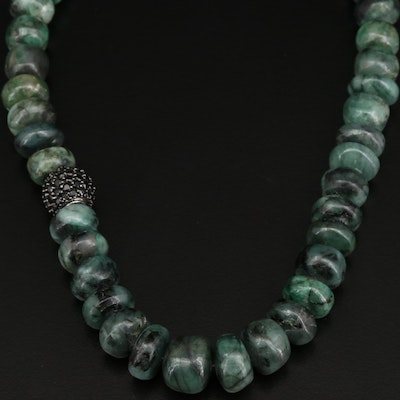 Sterling Silver Beryl and Spinel Graduated Beaded Necklace