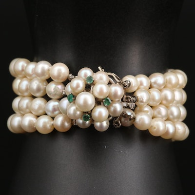 Vintage Multi-Strand Graduated Pearl Bracelet with 14K Clasp