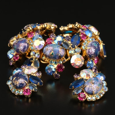 "Vintage Juliana ""Easter Egg"" Rhinestone Bracelet and Earring Set"