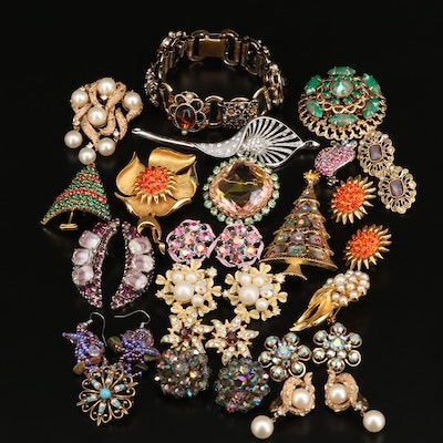 Vintage Jewelry Featuring Rhinestones, Crown Trifari and Alan J.
