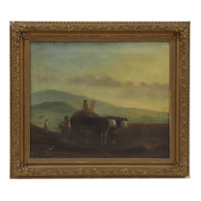 Genre Oil Painting of Cattle Cart, 19th Century