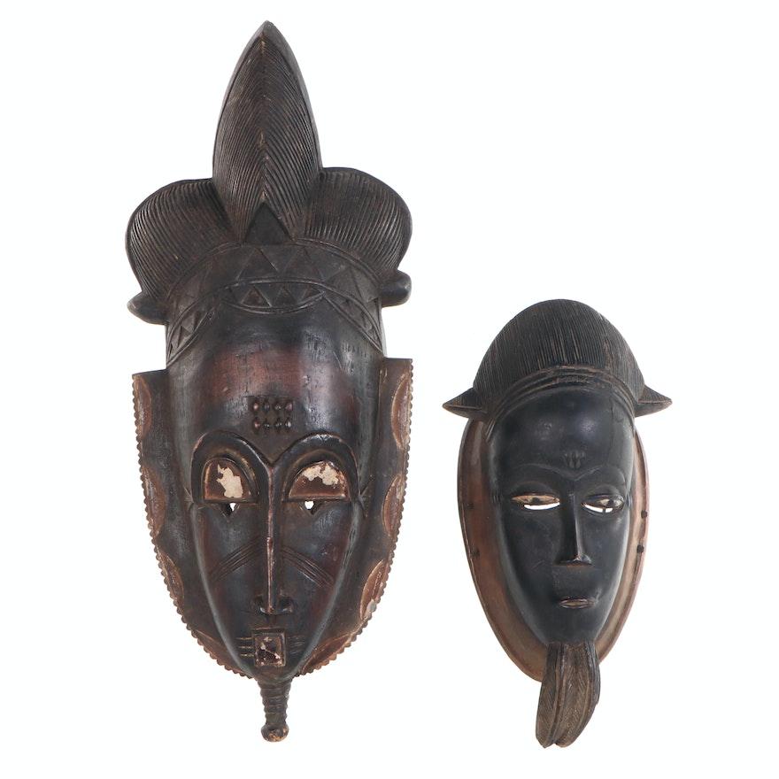 Baule-Yaure Style Hand-Carved Wood Masks, Côte d'Ivoire