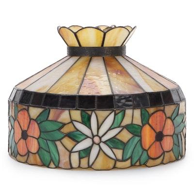 Floral Motif Slag Glass Pendant, Mid-20th Century