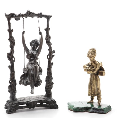 Brass and Malachite Russian Cossack Figurine with Bronze Woman Swinging