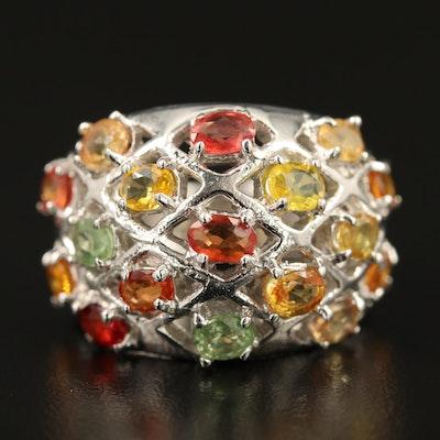 Sterling Silver Sapphire Latticework Ring