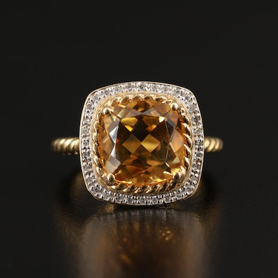 Sterling Silver Citrine and Diamond Ring