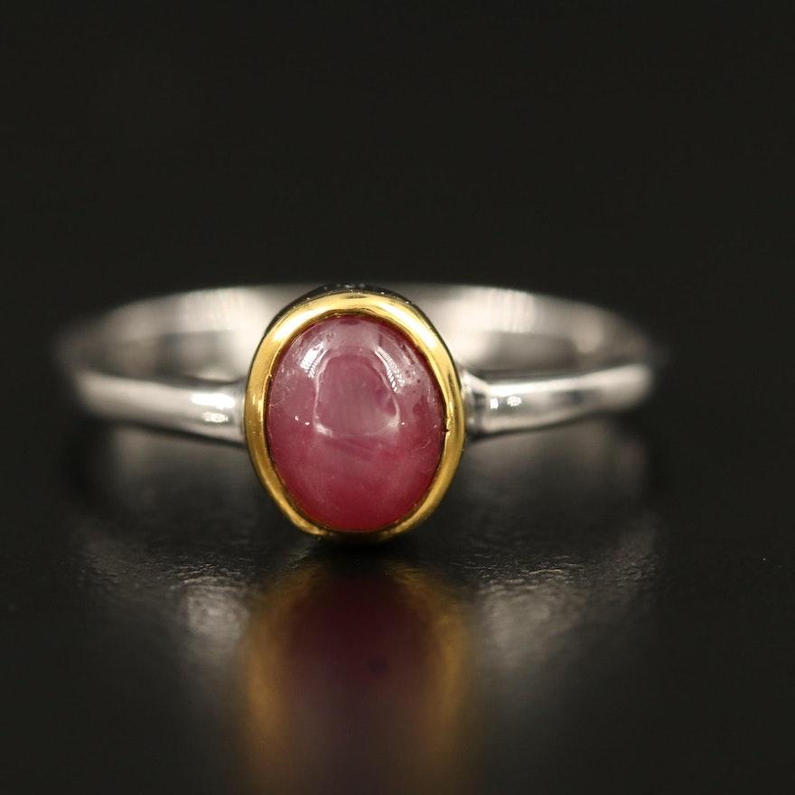 Sterling Silver Star Ruby Ring