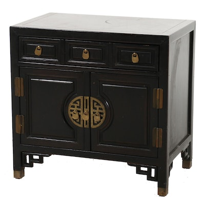 Chinese Black Lacquered and Brass-Mounted Cabinet