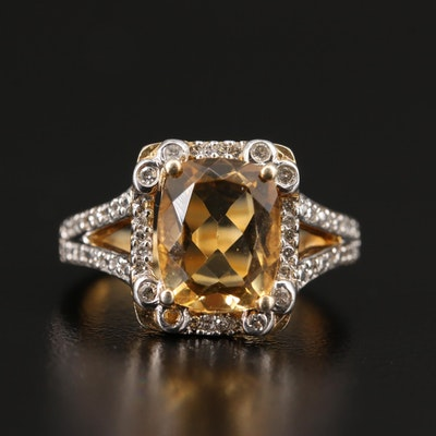 Sterling Citrine and Diamond Halo Split Shank Ring