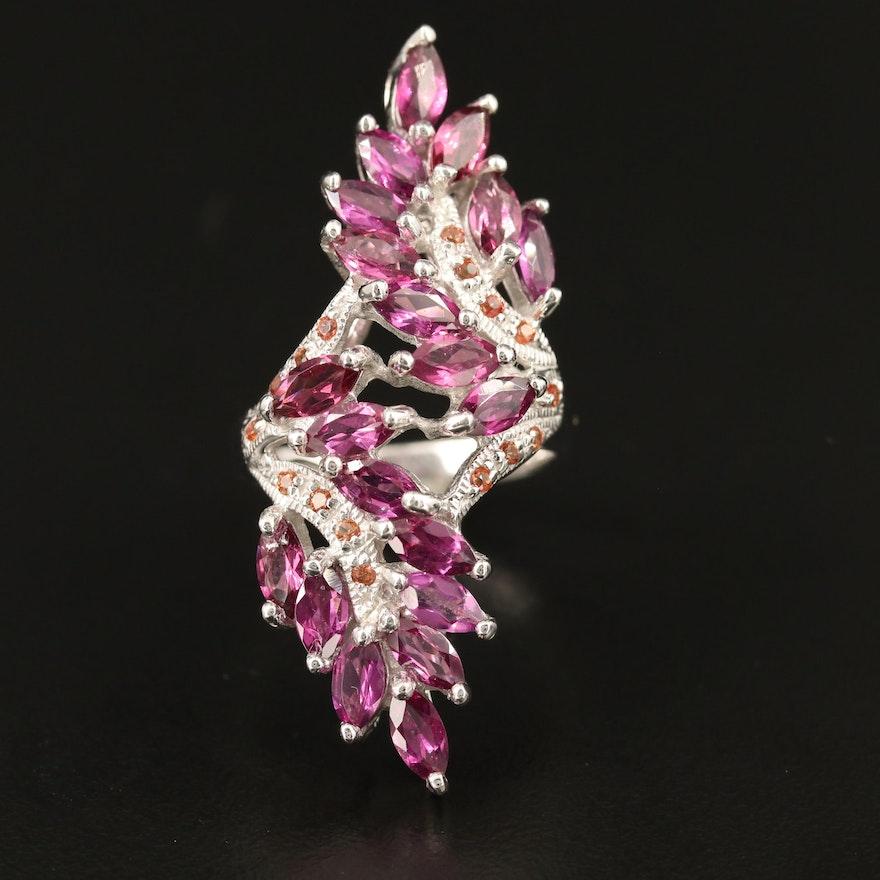 Sterling Silver Rhodolite Garnet and Sapphire Bypass Ring