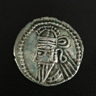 Ancient Parthian Kingdom AR Drachm Coin of Osroes II, ca. 190 A.D.