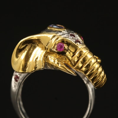Sterling Silver Tanzanite, Rhodolite Garnet and Ruby Elephant Ring