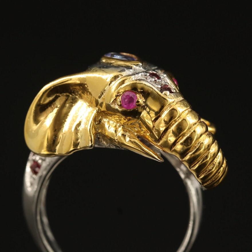 Sterling Silver Tanzanite, Rhodolite Garnet and Ruby Elephant Ring
