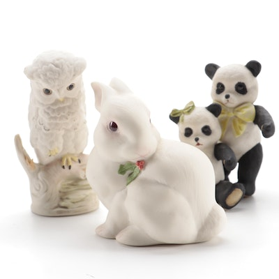 Cybis Bisque Porcelain Woodland Animals and Pandas, Late 20th Century