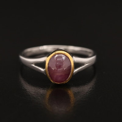 Sterling Silver Bezel Set Star Ruby Ring