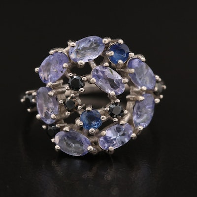 Sterling Silver Tanzanite, Kyanite and Spinel Freeform Cluster Ring