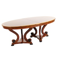 "Henredon ""Majestic Ropey"" Dining Table with Cherry and Birch Inlay"