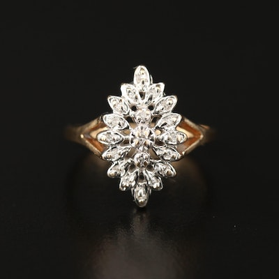 Vintage 10K Diamond Navette Cluster Ring