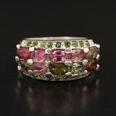 Sterling Silver Tourmaline and Diopside Ring