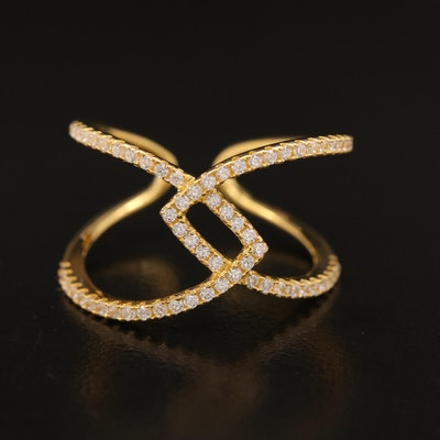 Sterling Cubic Zirconia Open Shank Ring