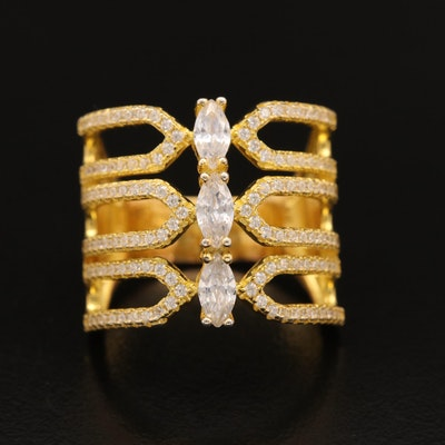 Sterling Cubic Zirconia Openwork Ring