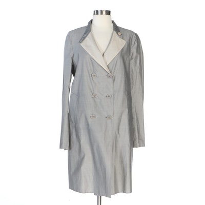 Brunello Cucinelli Double-Breasted Reversible Jacket in Grey and Off-White