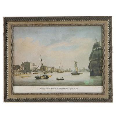 "Offset Lithograph after James Malton ""Marine School, Dublin"", Late 20th Century"