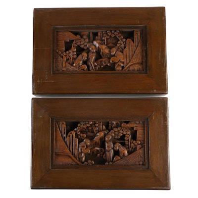 Chinese Carved Wood Panels with Figural Scenes