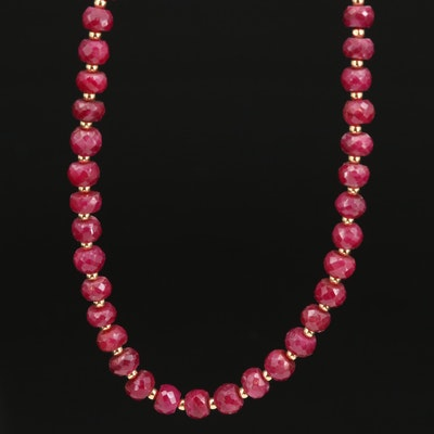 14K Ruby Beaded Necklace