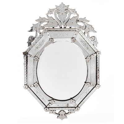 Venetian Style Octagonal Etched Glass Wall Mirror