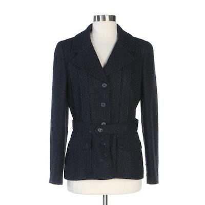 Chanel Navy/Black Tweed Notch Lapel Jacket
