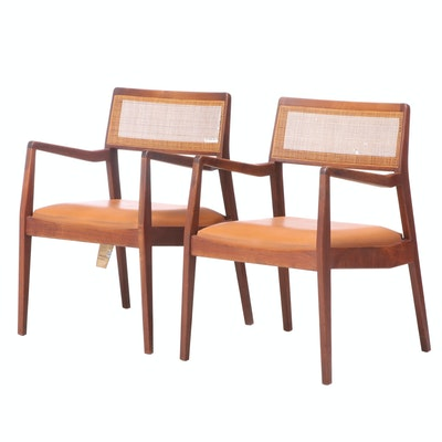 Jens Risom Mid Century Modern Vinyl Upholstered Cane Back Arm Chairs