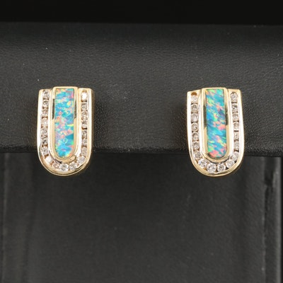 14K Opal Doublet and Diamond Earrings for Non Pierced Ears
