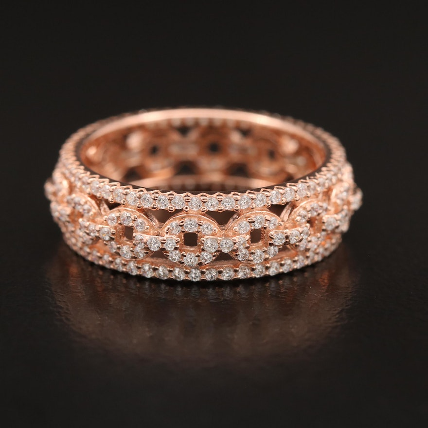 Sterling Silver Cubic Zirconia Band with Cable Link Pattern