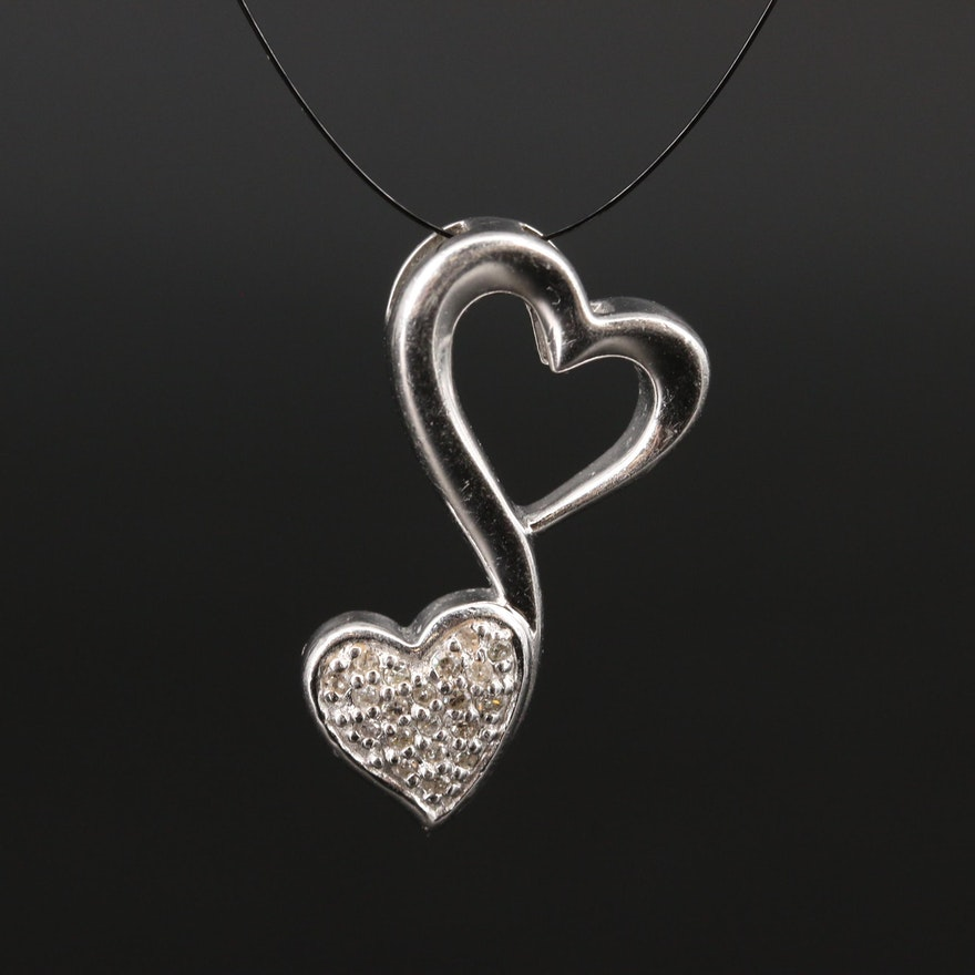 Sterling Diamond Double Heart Pendant